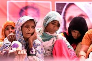 Anguri Begum, mother of Pehlu Khan sitting on dharna at Jatnar Mantar in New Delhi.