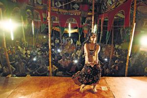 Live dancer and actor in Bhojpuri films, Pooja Singh Rajput, dancing at an event  at the outskirts of Aara in Bihar's Bhojpur district.