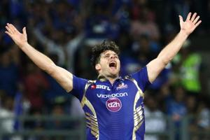 Mitchell McClenaghan of Mumbai Indians celebrates the wicket of Sanju Samson of Delhi Daredevil during their 2017 Indian Premier League match at Wankhede Stadium in Mumbai on Saturday.