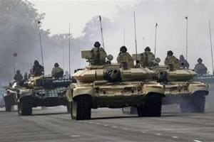 File photo of tanks of the Indian Army at the Army Day parade in January 2013.