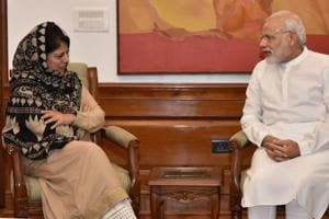 Prime Minister, Narendra Modi and chief minister of Jammu and Kashmir Mehbooba Mufti in New Delhi on, August 27,  2016