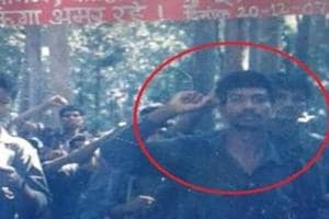 Madvi Hidma (circled in red) heads the first military battalion of the CPI (Maoist).