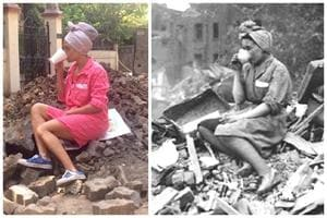 Genesia Alves sips tea atop the heap of  rubble, recreating the iconic picture from 1940 of a woman sipping tea atop a mound of debris after a German air raid during World War II.