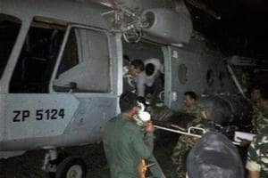 Injured CRPF jawans being airlifted to Raipur by an IAF chopper for treatment following a Maoist attack in  Chhattisgarh's Sukma district on Monday.