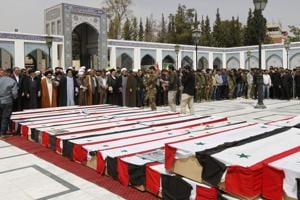 Syria: Mass funeral for dozens Shia Muslims killed in April 15 bus...