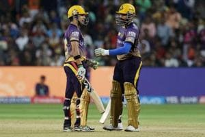 Kolkata Knight Riders captain Gautam Gambhir and teammate Robin Uthappa during their IPL 2017 match against Rising Pune Supergiant at the MCA Stadium in Pune.
