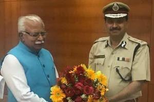 CM Khattar with DGP Sandhu