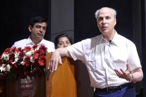 Roger D Kornberg addressing a gathering in Panjab University on Wednesday.