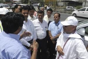 Union minister of state for urban development Rao Inderjit Singh inspects the under-construction projects on the Delhi-Gurgaon Expressway on Thursday.