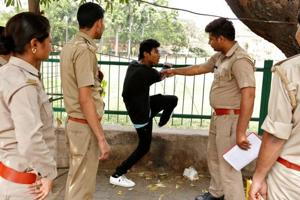 The Anti-Romeo Squad of Uttar Pradesh Police questions a youth in Lucknow.