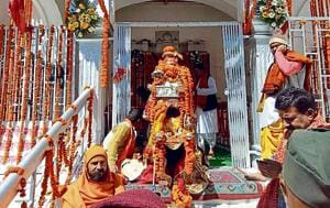 Devotees at Gangotri temple during the opening of the portal.