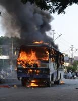 Allahabad University students clash with police, torch vehicles