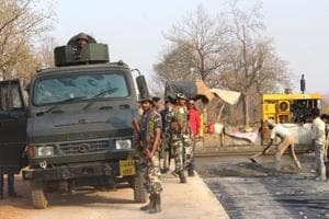 The site where Maoist militants killed 25 CRPF personnel in Sukma on April 24.