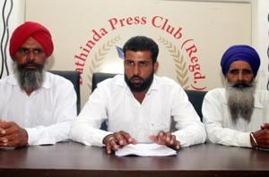 Truck operators of Rama Mandi interacting with mediapersons during a press conference in Bathinda on Thursday.
