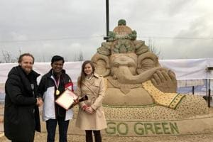 Sudarsan Pattnaik wins gold for his 'go green' sand sculpture in...