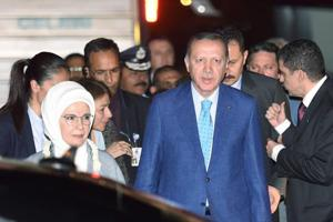 Turkish President Recep Tayyip Erdogan and his wife Emine Erdogan upon their arrival at AFS Palam in New Delhi on Sunday.