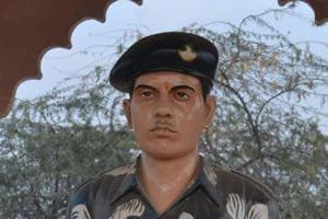 Statue of Lance Naik Hemraj Singh installed in village Sher Nagar in Mathura district.