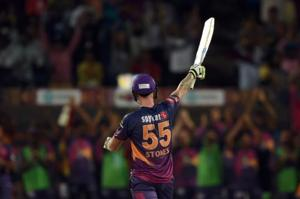 Rising Pune Supergiant's (RPS) Ben Stokes celebrates after scoring a century against Gujarat Lions (GL)in their 2017 Indian Premier League (IPL) match at the Maharashtra Cricket Association Stadium in Pune on Monday.
