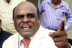 Calcutta high court judge CS Karnan addressing a press conference at his residence in New Town near Kolkata recently.