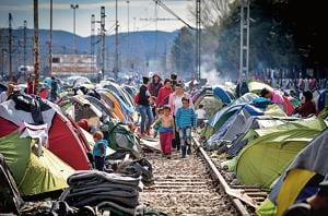 Refugees at the Idomeni camp on the Greek Macedonia border on March 11, 2016