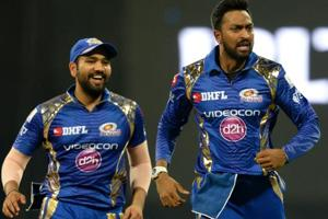 Mumbai Indians all-rounder Krunal Pandya (R) will be a key factor for his team against Delhi Daredevils on Saturday.