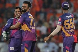 Jaydev Unadkat of Rising Pune Supergiant celebrates after completing his hattrick against Sunrisers Hyderabad. Get highlights of Sunrisers Hyderabad vs Rising Pune Supergiant here.