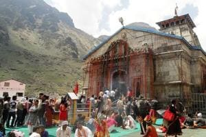 A view of Kedarnath shrine in Rudraprayag district.