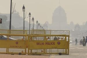 Yellow-coloured barricades at Rajpath in New Delhi.
