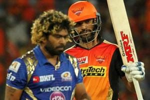 Shikhar Dhawan (R) of Sunrisers Hyderabad in action against Mumbai Indians. Get live cricket score of Sunrisers Hyderabad vs Mumbai Indians here.