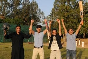 Students from Afghanistan at cricket ground of Panjab University, Chandigarh on Monday.