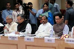 Union Home Minister Rajnath Singh presides over a meeting with the Chief MInisters of LWE affected states at Vigyan Bhawan in New Delhi