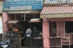 Meat shops at Hasanpura in Jaipur.