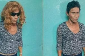 Image of murder convict Francisco Herrera Argueta, who tried to escape from prison disguised as a woman, released by Honduras Police.