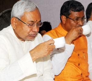 Bihar chief minister Nitish Kumar and Jharkhand Vikas Morcha chief Babulal Marandi in happier times. Nitish Kumar's decision to restore his partnership with the BJPhas jeopardised Opposition unity plans in neighbouring Jharkhand.