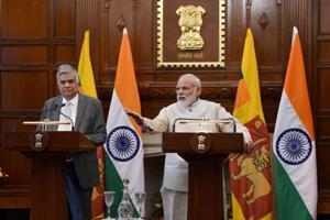 Prime Minister Narendra Modi (Right) with his Sri Lankan counterpart Ranil Wickremesinghe, Hyderabad House, New Delhi, April 26