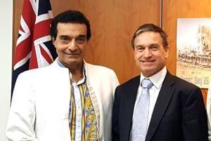 Dheeraj Kumar with Tony Huber, consul-general, Australia, in Mumbai