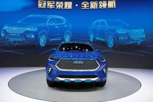 A Haval HB-03 Hybrid car from Great Wall Motors is displayed at Shanghai Auto Show.