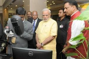 Prime Minister Narendra Modi visiting the exhibition on the National Skill Development Mission, in New Delhi on July 15, 2015.
