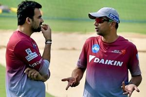 Delhi Daredevils captain Zaheer Khan and mentor Rahul Dravid (right) during a training session at Eden Garden in Kolkata during IPL 2017.