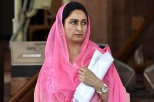 Harsimrat Kaur Badal at Parliament during the Budget session in New Delhi.