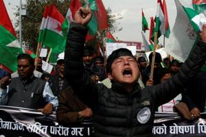 Activists take part in a rally to support ethnic Madhesis in Kathmandu.  The Madhesis, who live in the plains, say the new constitution dilutes their political power and should be changed to accommodate their concerns.