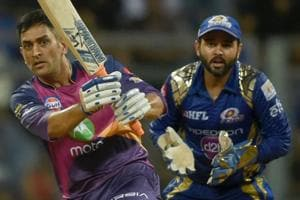 MS Dhoni en route to scoring a crucial innings for Rising Pune Supergiant against Mumbai Indians in an Indian Premier League (IPL) 2017 Qualifier 1 at the Wankhede Stadium.