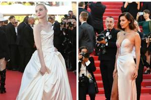 Elle Fanning and Bella Hadid attend the 70th Cannes Film Festival.