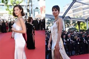 Models Bella Hadid and Emily Ratajkowski were twinning at Cannes Film Festival 2017.