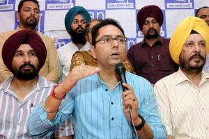 Punjab AAP co-president Aman Arora addressing the media in Patiala on Thursday, May 18.