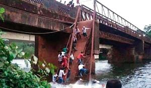 A metal footbridge collapsed at Savordem-Curchorem on Thursday.