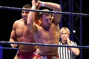 Jinder Mahal (left) in action against Bryan Danielson during the WWE Smackdown Live Tour at Westridge Park Tennis Stadium in Durban, South Africa.
