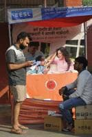 A stall selling LEDbulbs outside a Sampark centre in Sector 23, Chandigarh, on Friday.