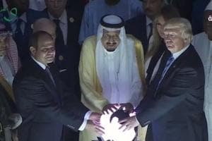 US President Donald Trump, Saudi Arabia's King Salman (centre), and Egyptian President Abdel Fattah al-Sissi (left) launch the Global Centre for Combating Extremist Ideology in Riyadh.