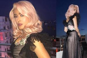 Salma Hayek has been rocking pink hair at the festival.